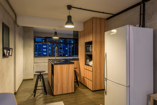Hdb 3 Room Flat Lor Limau Industrial Kitchen Singapore By Ace Space Design