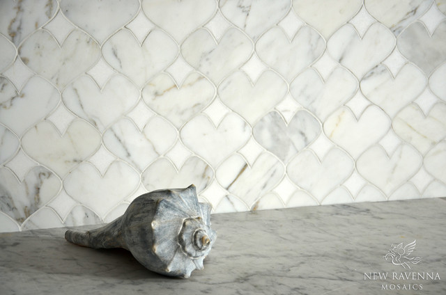 Hearts Stone Mosaic eclectic-kitchen