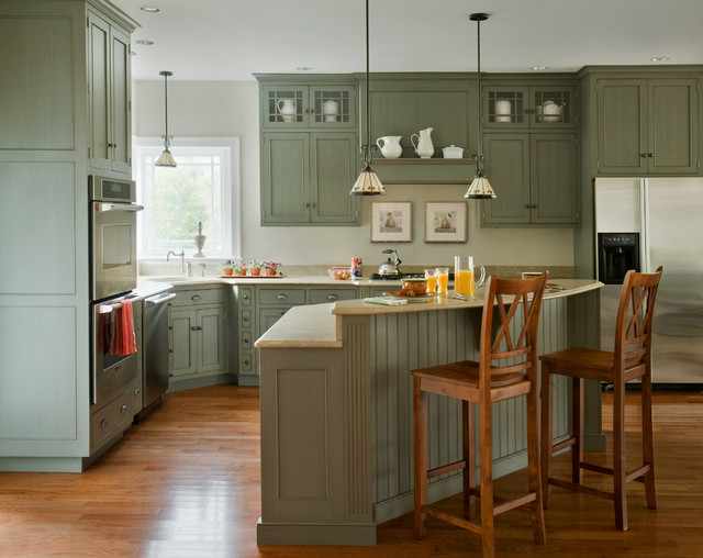 Heartwood kitchens 2 traditional kitchen boston by quality custom cabinetry inc Kitchen triangle design with island