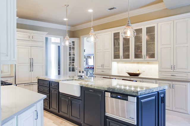 Overall Shot Left Side Apron Sink Microwave Drawer Traditional Kitchen Dallas By Kitchen