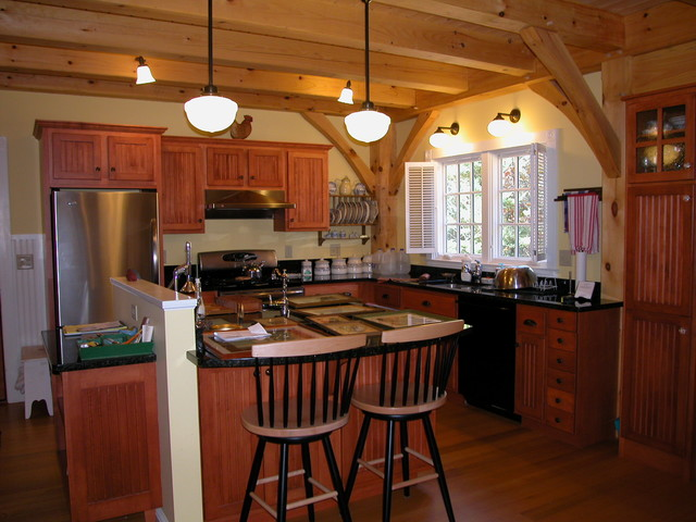 Heavy timber frame kitchen traditional kitchen portland maine by by design - Kitchen design portland maine ...