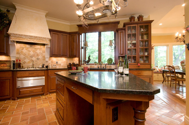 Traditional Kitchen Idea In Other With Raised Panel Cabinets And Travertine  Backsplash