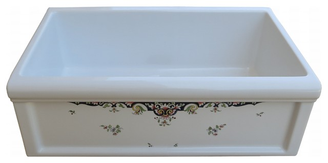 Herbeau fireclay farmhouse sink in Rouen Marly handpaint - Traditional ...