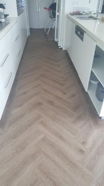 Herringbone Vinyl Planks Contemporary Kitchen