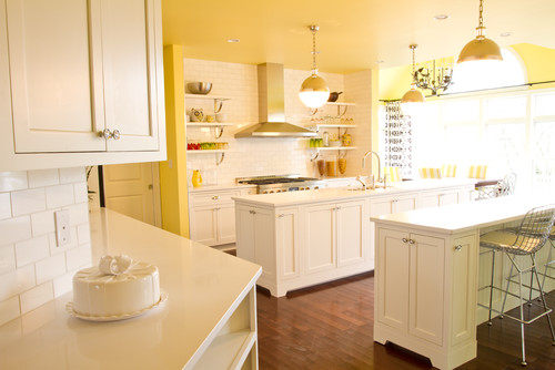 Yellow Kitchen With White Cabinets - palesten.com -