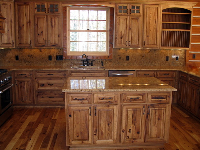 Hickory cabin northern mn rustic kitchen by for Rustic kitchen cabinets