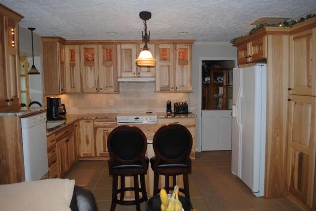 Cabinets, Gold and Silver Granite, Tile Backsplash traditional kitchen