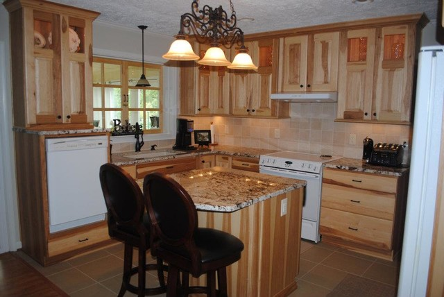 Hickory Cabinets, Gold and Silver Granite, Tile Backsplash - Traditional - Kitchen - Other - by ...