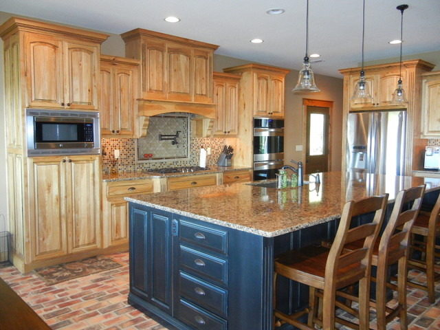 Hickory cabinets with black island