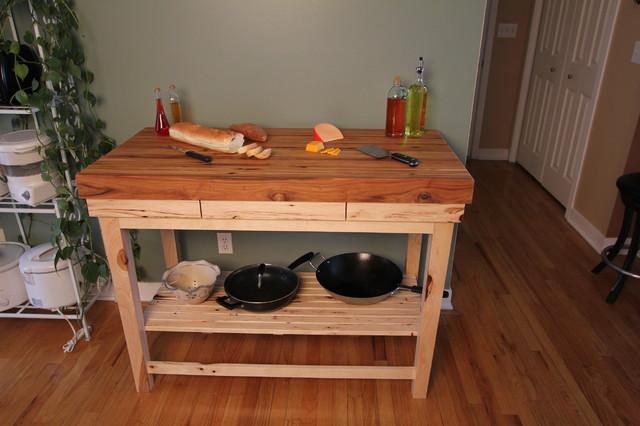 hickory edge grain butcher block kitchen island cart