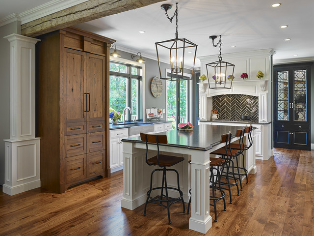 Hickory In Kitchen Wide And Long Transitional Kitchen