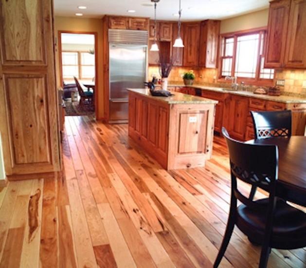 Hickory plank flooring hand scraped for Southwestern flooring