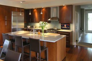 Hidden Drop Down TV in Modern Kicthen - Modern - Kitchen - austin - by NEXUS 21