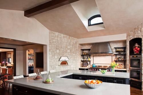 U-Shaped White Kitchen Countertops Design Ideas