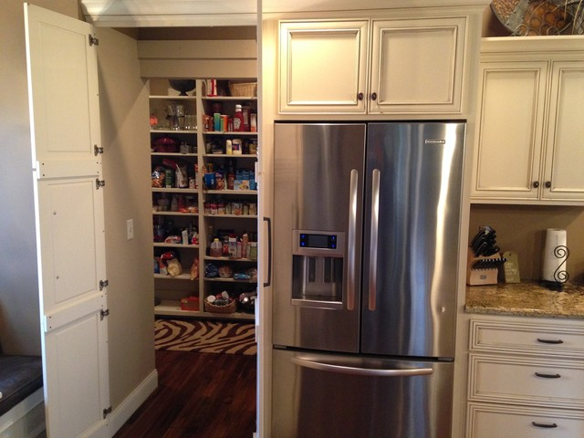 Hidden pantry storage transitional kitchen other for Hidden kitchen storage ideas