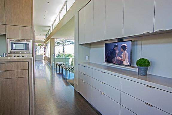 Hidden Tv In Kitchen Cabinet Modern Kitchen San Francisco By Soundvision Houzz