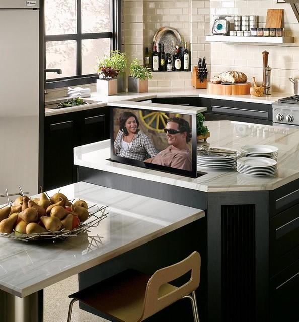 Hidden Tv In Kitchen Island Contemporary Kitchen