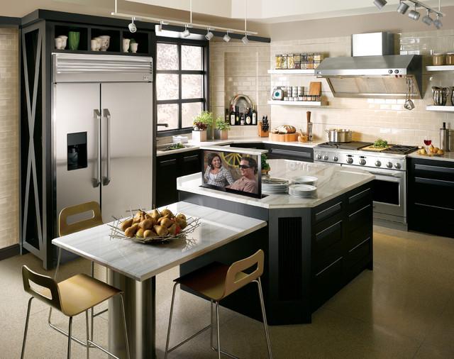 Hidden TV Lift in Kicthen Island contemporary-kitchen