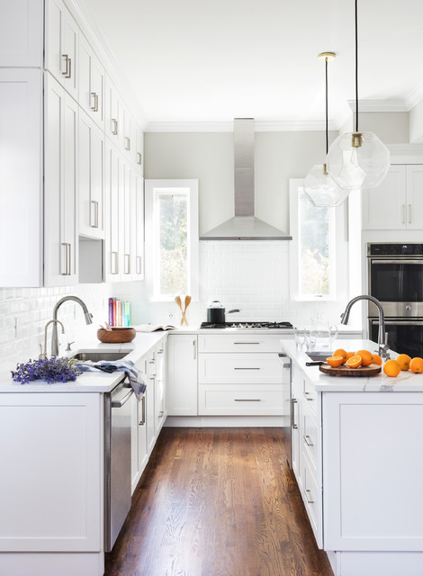 High ceiling with tall cabinets - Transitional - Kitchen ...