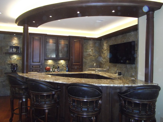 Superb High End Custom Wet Bar In Basement Traditional Kitchen