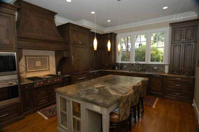 High end kitchen burl walnut cabs traditional for Upper end kitchen cabinets