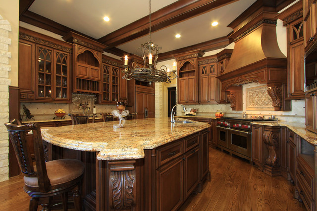kitchen-cabinets-traditional-medium-wood-golden-brown-062-s30956167-wood-hood-island-luxury Kitchen Island Hood Vents