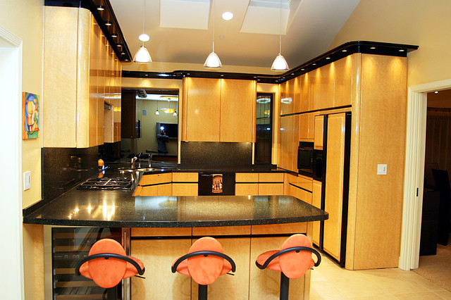 high gloss birds eye maple modern kitchen other modern kitchen kitchen maple cabinets floor black granite