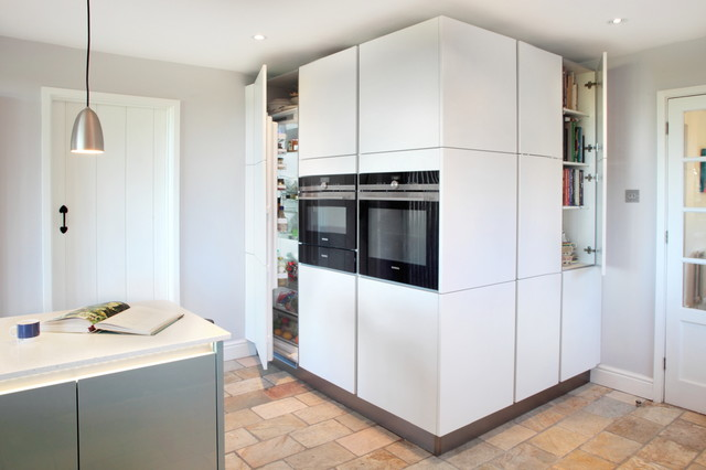 High gloss blue matt white kitchen with tall storage for White gloss tall kitchen units