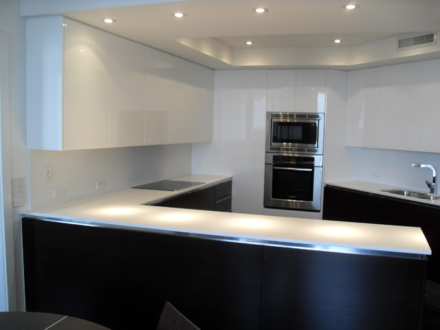 Dark Wood Modern Kitchen high gloss white & dark wood kitchen - modern - kitchen - miami