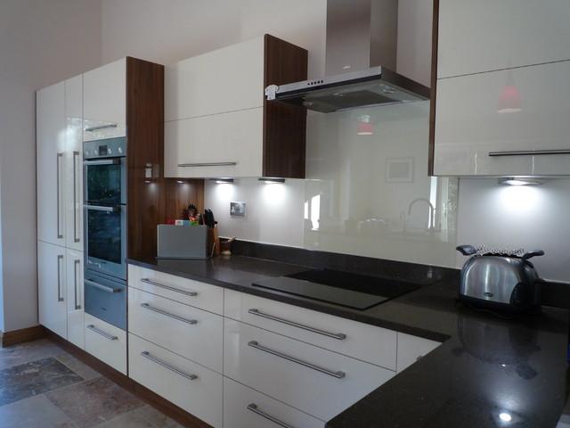 High Gloss White Walnut Kitchen Modern