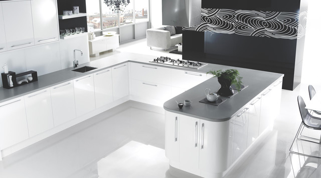 High Gloss White Kitchen Contemporary Kitchen Other Metro By B Q
