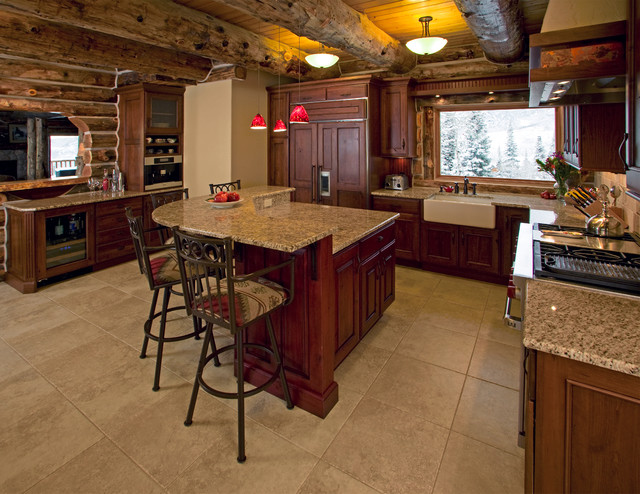 High Mountain Log Home Remodel Traditional Kitchen Other Metro By Barb Stimson Cabinet