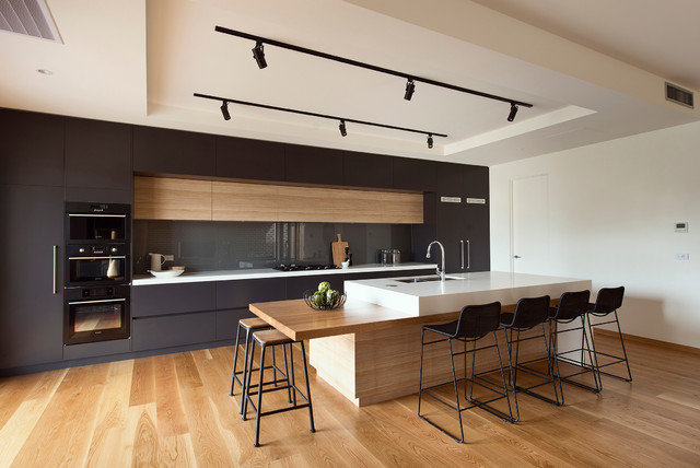 kitchen designs with black appliances. Mid sized modern kitchen appliance  galley medium tone wood floor Top 30 Kitchen with Black Appliances Ideas Decoration Pictures