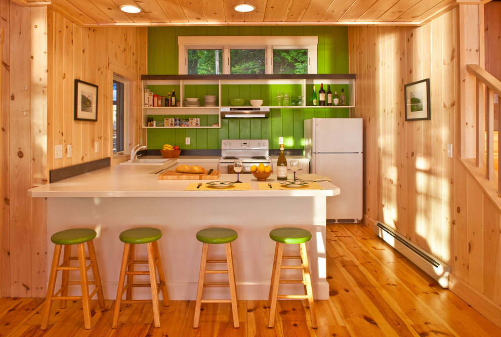 Mountain style u-shaped medium tone wood floor eat-in kitchen photo in Portland Maine with white appliances, a drop-in sink, open cabinets, white cabinets and a peninsula