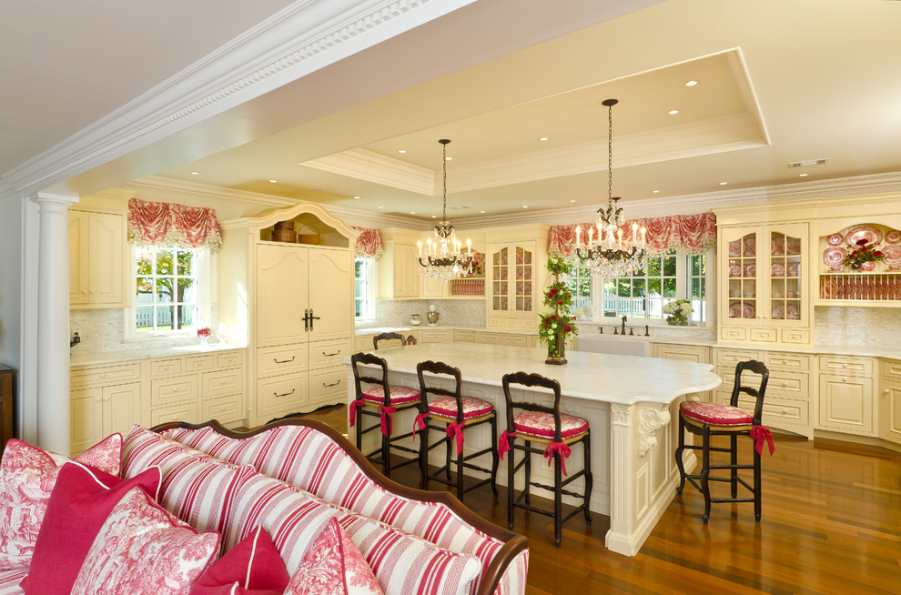 Kitchen - french country kitchen idea in Other with a farmhouse sink