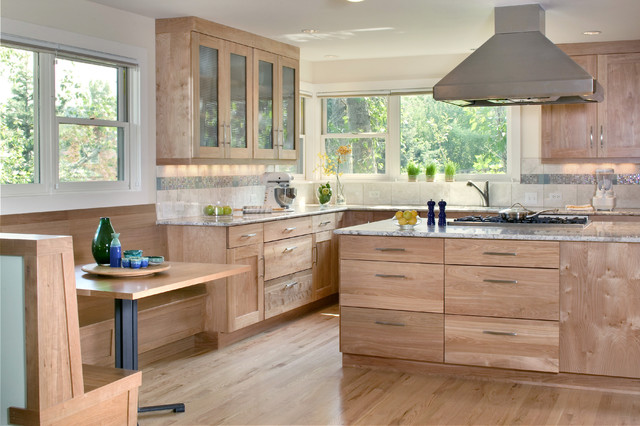 Interior Natural Cabinets natural wood cabinets houzz example of a trendy kitchen design in denver with granite countertops