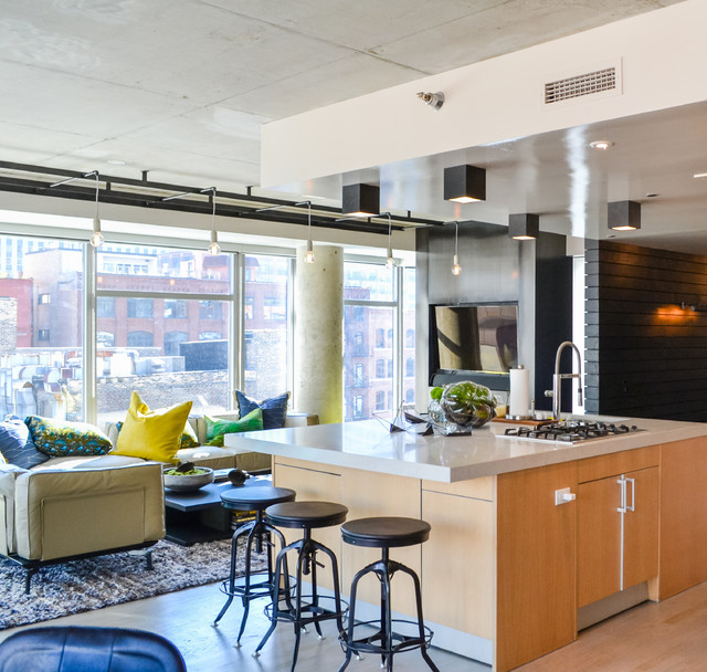 Hip downtown chicago condo renovation industrial home for Hip office design