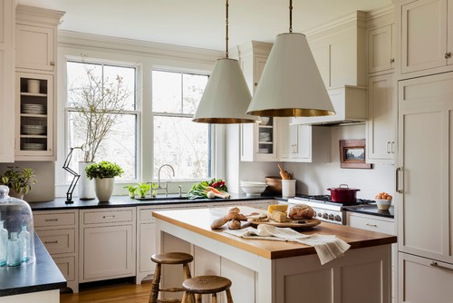 farmhouse for this farmhouse kitchen in massachusetts designer lisa tharp commissioned carol collord owner of creations by carol to create these - Farmhouse Kitchen Lighting