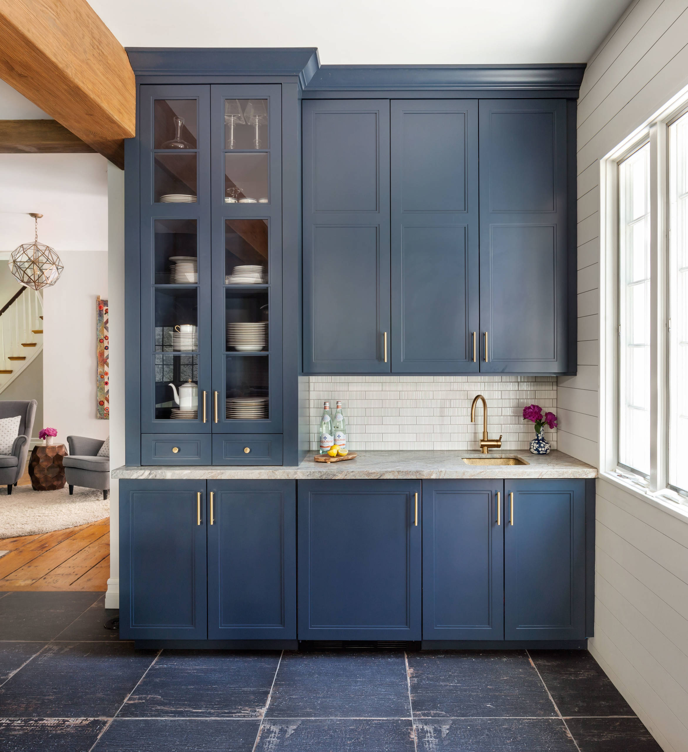 75 Beautiful Cement Tile Floor Kitchen With Blue Cabinets Pictures Ideas December 2020 Houzz