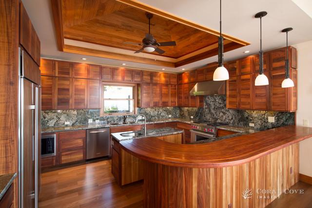 hokulia custom koa wood estate kolonialstil k che. Black Bedroom Furniture Sets. Home Design Ideas