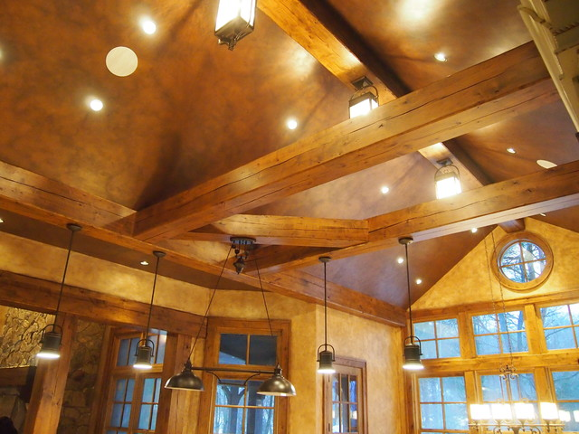 Hollow Knotty Alder Beams Farmhouse Kitchen