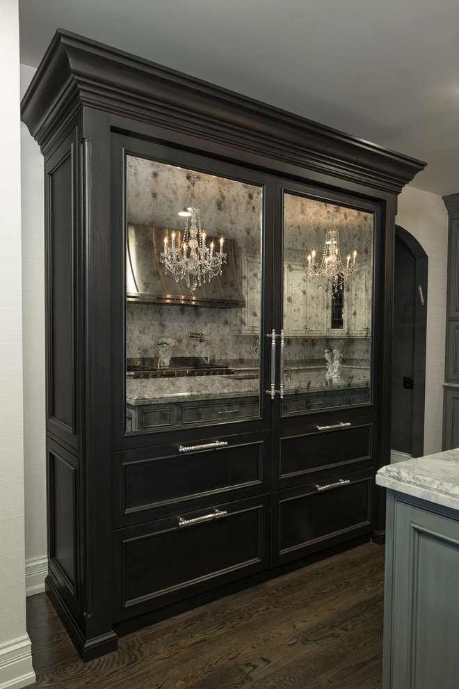Inspiration for a huge timeless l-shaped dark wood floor and brown floor eat-in kitchen remodel in Chicago with an undermount sink, beaded inset cabinets, gray cabinets, quartzite countertops, multicolored backsplash, stone tile backsplash, stainless steel appliances and an island
