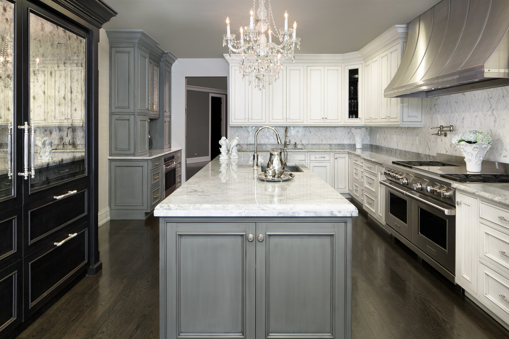Inspiration for a huge timeless l-shaped dark wood floor and brown floor eat-in kitchen remodel in Chicago with quartzite countertops, an island, an undermount sink, beaded inset cabinets, gray cabinets, multicolored backsplash, stone tile backsplash and stainless steel appliances