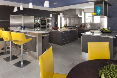 Classic color combo gray and yellow abode Kitchen design consultants