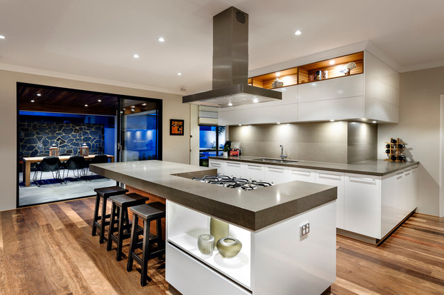 Example Of A Large Asian Open Concept Kitchen Design In Perth With An  Undermount Sink,