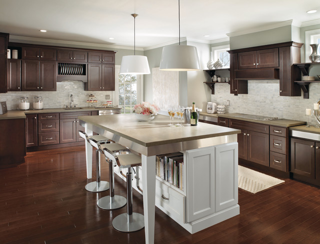 Modern Dark Wood Kitchen Cabinets with Contrasting White Island - Modern - Kitchen - other metro ...