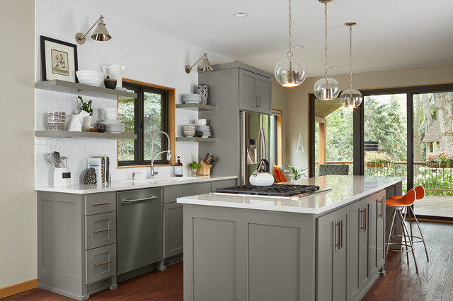 Transitional Galley Dark Wood Floor Kitchen Photo In Minneapolis With Shaker Cabinets Gray