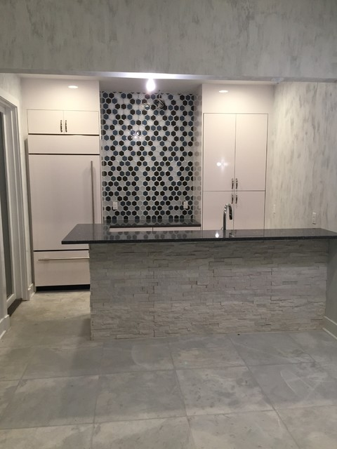 honeycomb backsplash with cultured stone island contemporary kitchen
