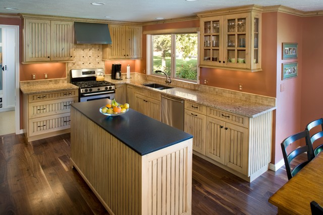 hood and island are cool transitional kitchen boise