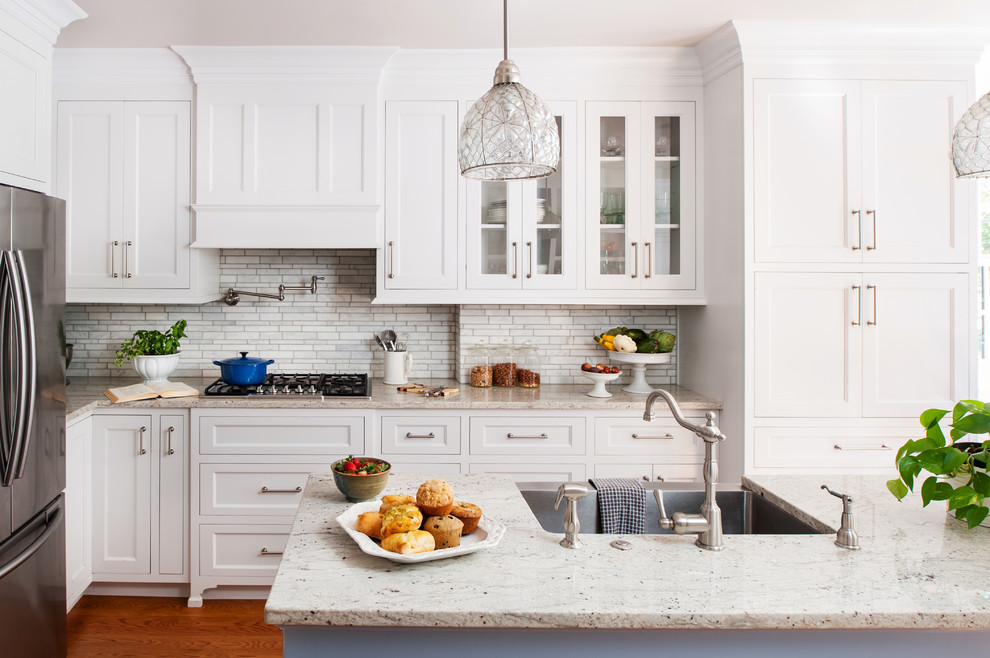 Transitional eat-in kitchen photo in Richmond with a farmhouse sink, recessed-panel cabinets, white cabinets, gray backsplash, mosaic tile backsplash and stainless steel appliances